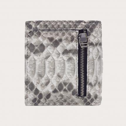 Portefeuille compact en cuir python, blanc de roche