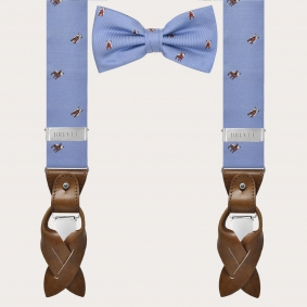 Coordinated suspenders and bowtie in silk, blue pattern with French bulldogs