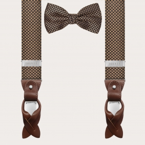 Coordinated suspenders and bowtie in silk, black and bronze pattern