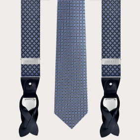 Coordinated suspenders and necktie in silk, blue pattern with French bulldogs