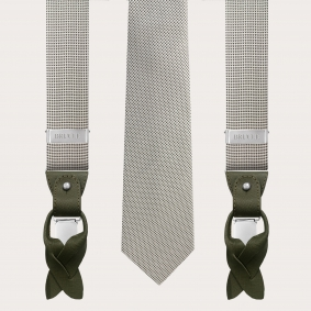 Coordinated suspenders and necktie in silk, green and white pattern