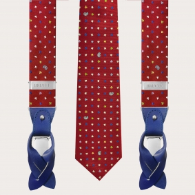 Coordinated suspenders and necktie in silk, red pattern with micro-designs
