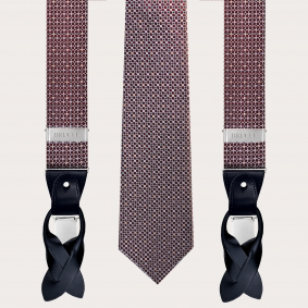 Coordinated suspenders and necktie in silk, abstract burgundy polka dot pattern with light blue accents