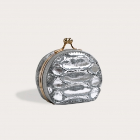 Coin purse in buffered back cut python leather, silver