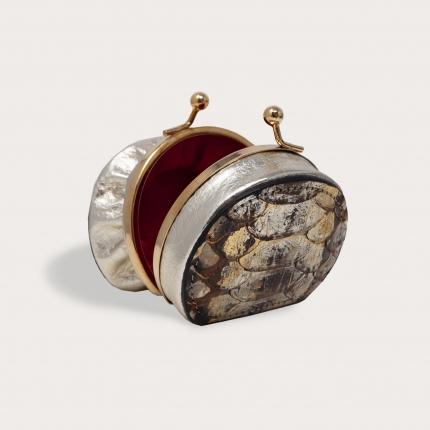 Porte-monnaie femme en python brun et or