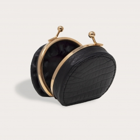 Coin purse in real crocodile leather, black