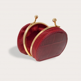 Coin purse in real crocodile leather, red