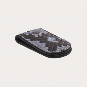 Genuine Python Leather Magnetic Money clip, dusty blue