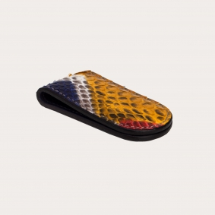 Fermasoldi magnetico in vera pelle di pitone multicolore