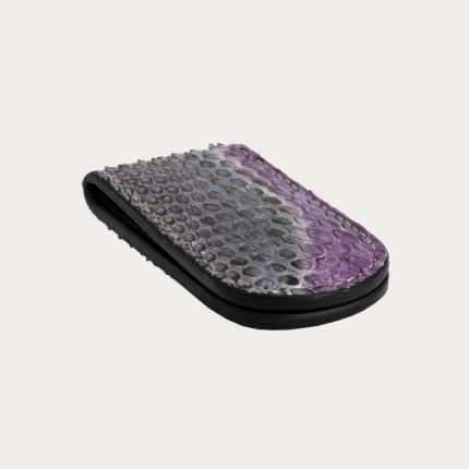 Fermasoldi magnetico in vera pelle di pitone multicolore viola