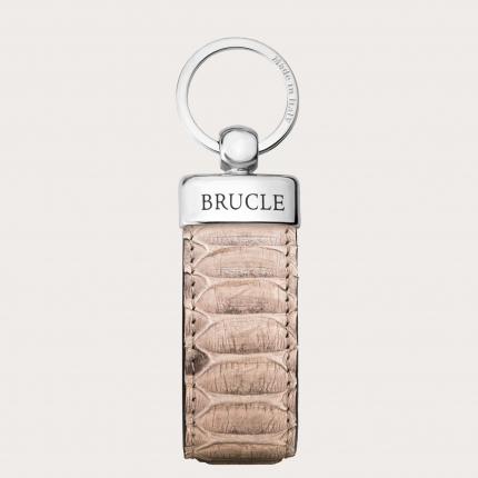Genuine Python Leather keychain tan