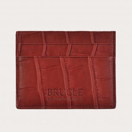 Custodia porta carte di credito rossa in vero alligatore