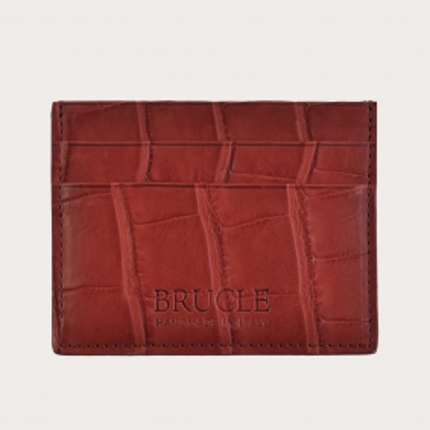 Porte carte de crédit rouge en cuir véritable alligator