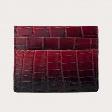 Porte carte de crédit rouge en cuir véritable crocodile