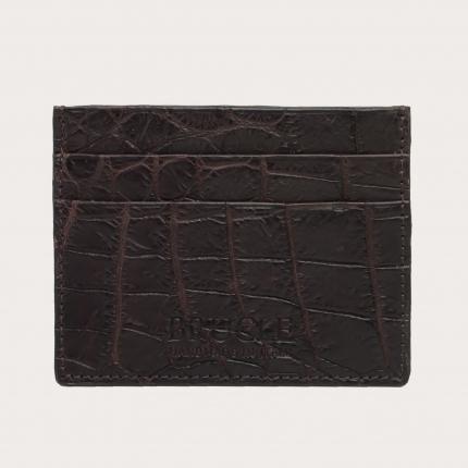 Porte carte de crédit brun foncé en cuir véritable crocodile