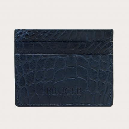 Custodia porta carte di credito blu notte, in vero coccodrillo