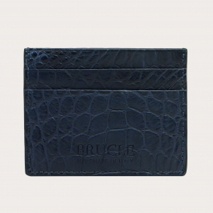 Porte carte de crédit bleu en cuir véritable crocodile
