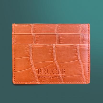 Custodia porta carte di credito arancione in coccodrillo