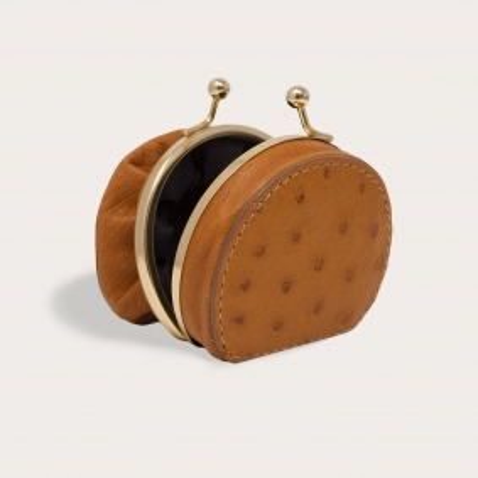 Coin purse in genuine ostrich leather, caramel brown