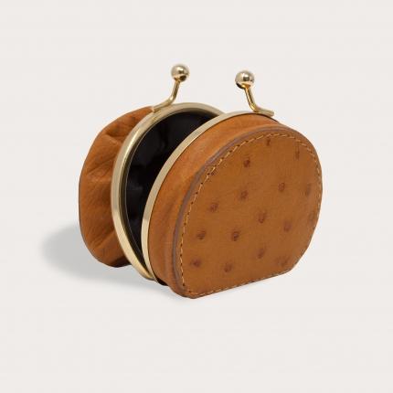 Porte-monnaie en véritable cuir d'autruche, marron caramel