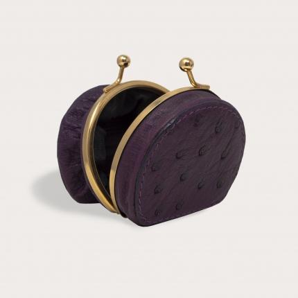 Coin purse in genuine ostrich leather, wine color