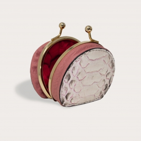 Coin purse in front cut python leather, white with pink shades