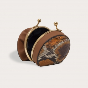 Brucle python coin purse for woman, orange and brown