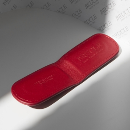 Fermasoldi magnetico in pelle di pitone, rosso