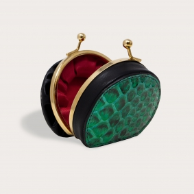 Coin purse in buffered front cut python leather, green and black