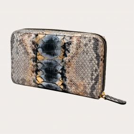 Python leder Damen-Geldbörse mit umlaufenden Reißverschluss grau golden schwarz