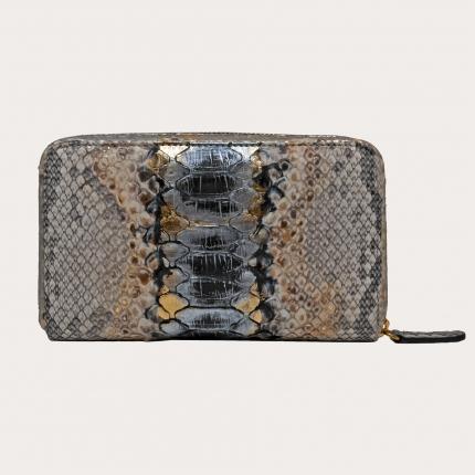 Portefeuille gris or et noire en python zippé, pour femme