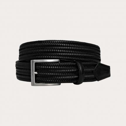 Braided elastic stretch bonded leather belt, black
