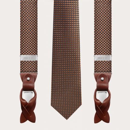 Coordinated suspenders and necktie in silk, black and bronze pattern