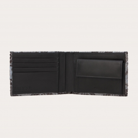 Genuine python bifold wallet with coin purse, dusty blue