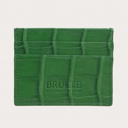Porte carte de crédit vert en cuir véritable alligator
