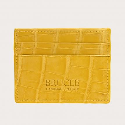 Custodia porta carte di credito gialla in vero alligatore
