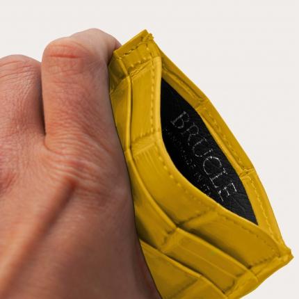 Porte carte de crédit jaune en cuir véritable alligator