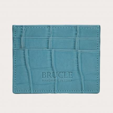 Custodia porta carte di credito azzurro cielo, in vero alligatore