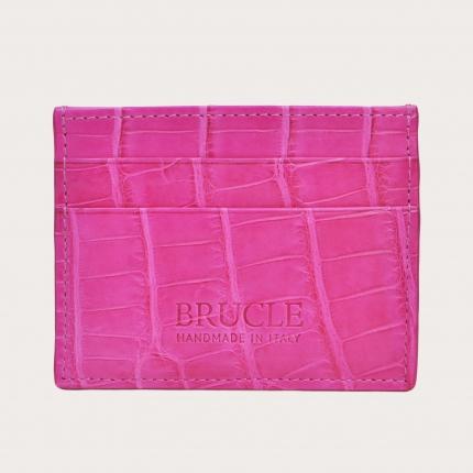 Porte carte de crédit fuchsia en cuir véritable alligator