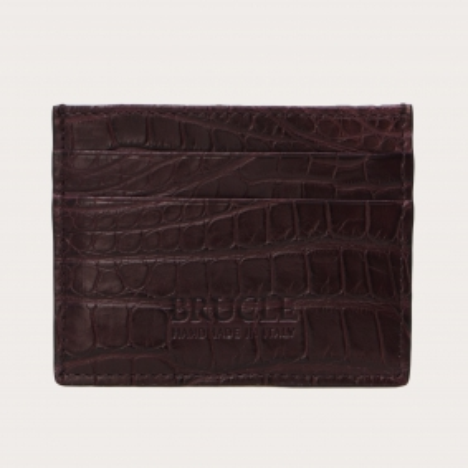 Credit card holder in genuine alligator, burgundy
