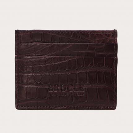 Porte carte de crédit bordeaux en cuir véritable alligator