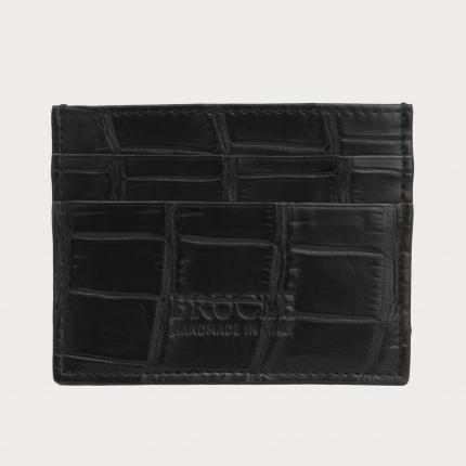 Custodia porta carte di credito nera in vero coccodrillo