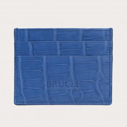 Custodia porta carte di credito in vero alligatore, blu