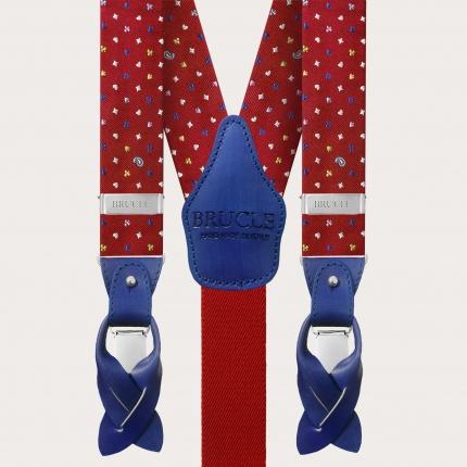 Formal fabric suspenders silk red pattern