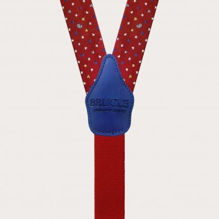 Bretelle in seta, rossa microdisegni carte da gioco