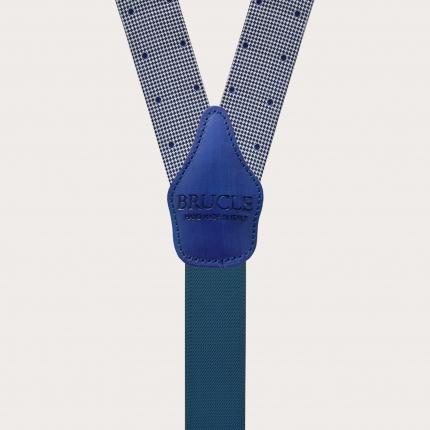 Bretelles larges en soie bleu à pois et pied de poule