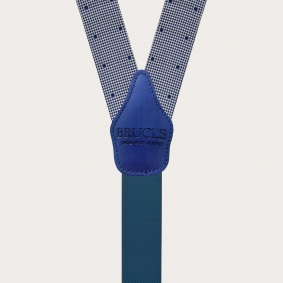 Formal Y-shape fabric suspenders in silk, blue with dot and pied de poule