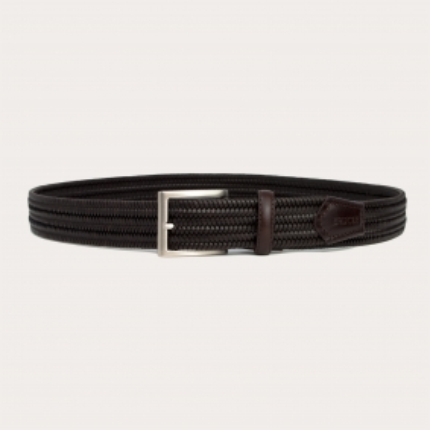 Braided elastic leather belt dark brown