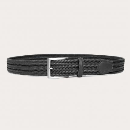 Cintura intrecciata elastica in pelle grigia