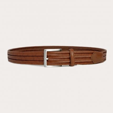 Cintura intrecciata elastica cognac